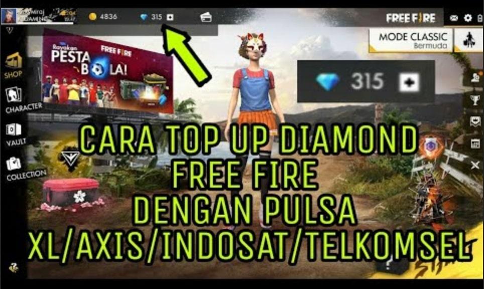 Top Up FF Free Fire  Menggunakan Pulsa Axis